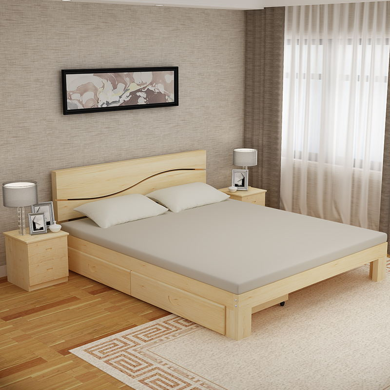 Economy type double bed, single bed, child bed, simple adult bed frame, simple stitching solid wood bed, new package mail