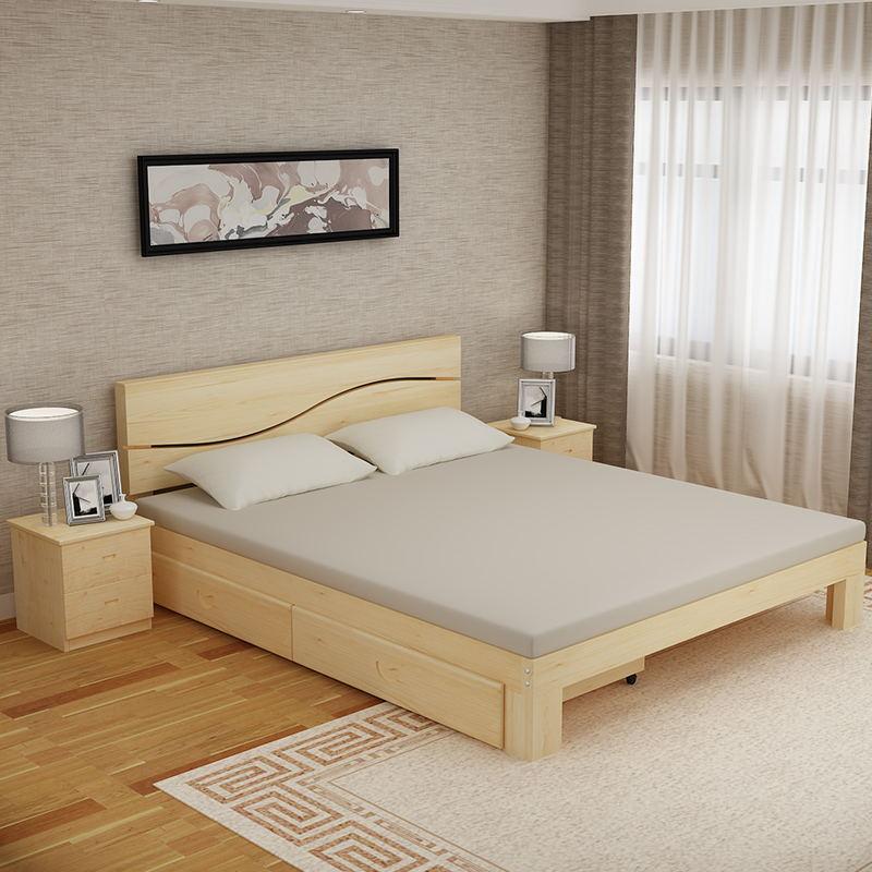 Wirtschaft - doppelbett einzelbett ein mosaik für erwachsene Kinder im Bett einfach Holz Bett - Paket post