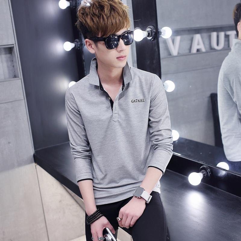 青少年潮流帥氣t恤韓版修身男裝秋衣純棉打底衫男士有領子polo衫