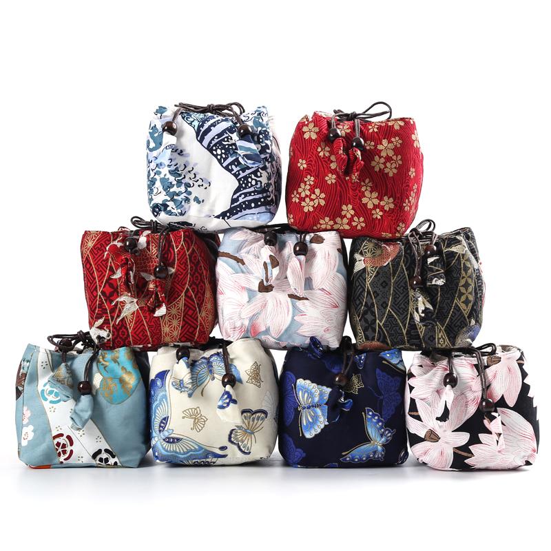 小金花棉麻茶壺茶杯收納袋子 快客杯布袋棉麻便攜旅行布包帶提繩杯袋