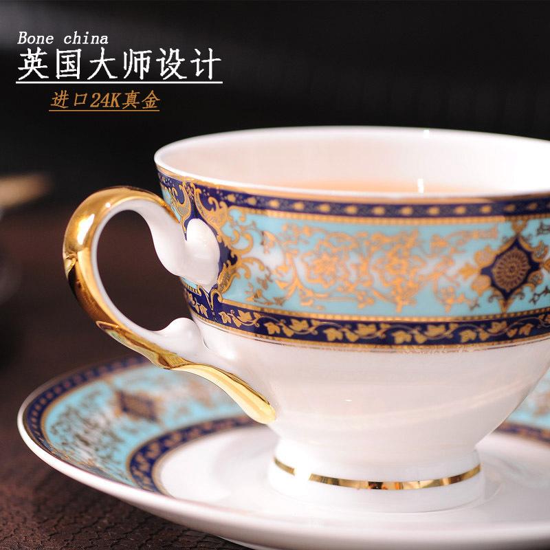 一杯一碟(送金勺)宮廷骨瓷咖啡杯套裝歐式咖啡套具家用奢華金邊英式下午茶杯花茶杯