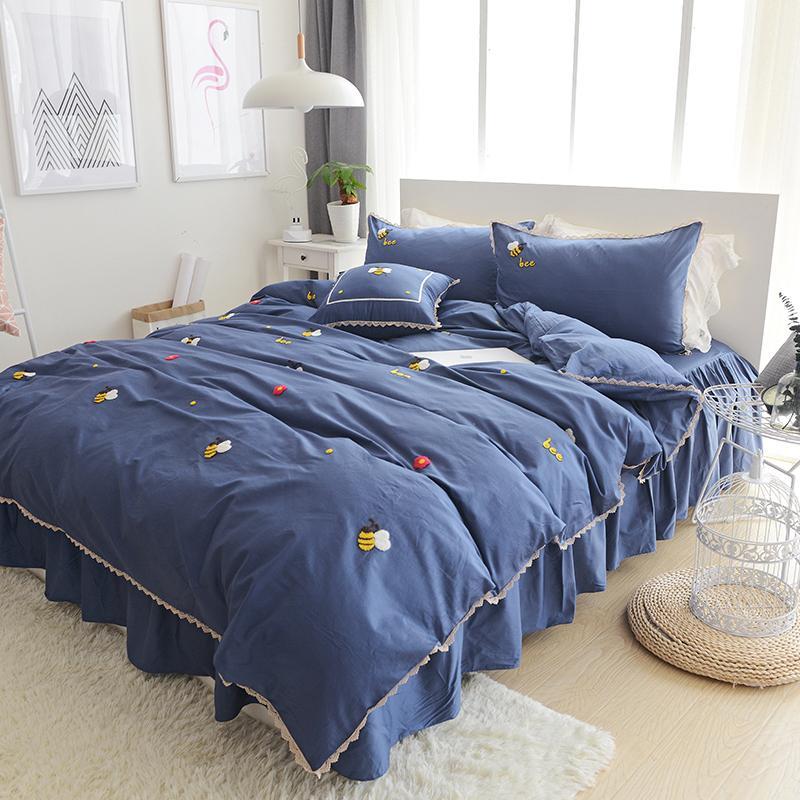 Korean simple cartoon Princess wind cotton four piece double skirt Tencel cotton quilt bedding 1.8m