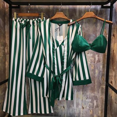 Autumn and winter female silk pajamas sexy nightgown loose striped fashion Korean four piece suit Home Furnishing female