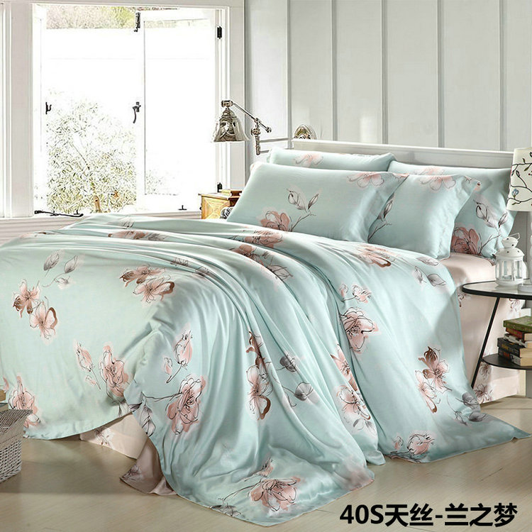 The new spring and summer Bess Lesel counter genuine pure Tencel sheets fitted printing four pieces lanzhimeng
