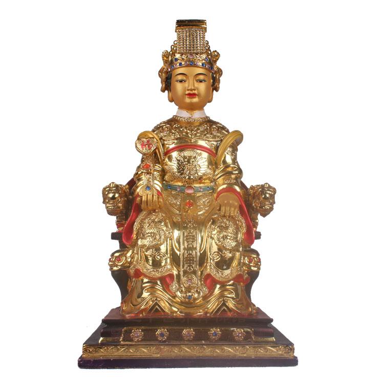 12寸龍椅天上圣母 媽祖娘娘 海上女神 宗教道教神像 樹脂鍍金擺件