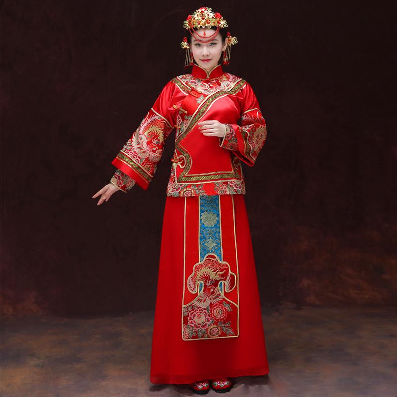 藍飄鳳凰xs胸圍90秀禾服新款新娘中式禮服敬酒服古裝喜服旗袍龍鳳褂嫁衣中式婚紗