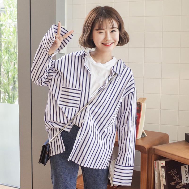 秋装女装2017新款韩版宽松假两件拼接长袖条纹衬衫学生休闲衬衣潮