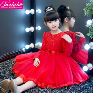 女童公主裙秋冬装2018新款韩版加绒裙子儿童连衣裙礼服蓬蓬纱裙冬