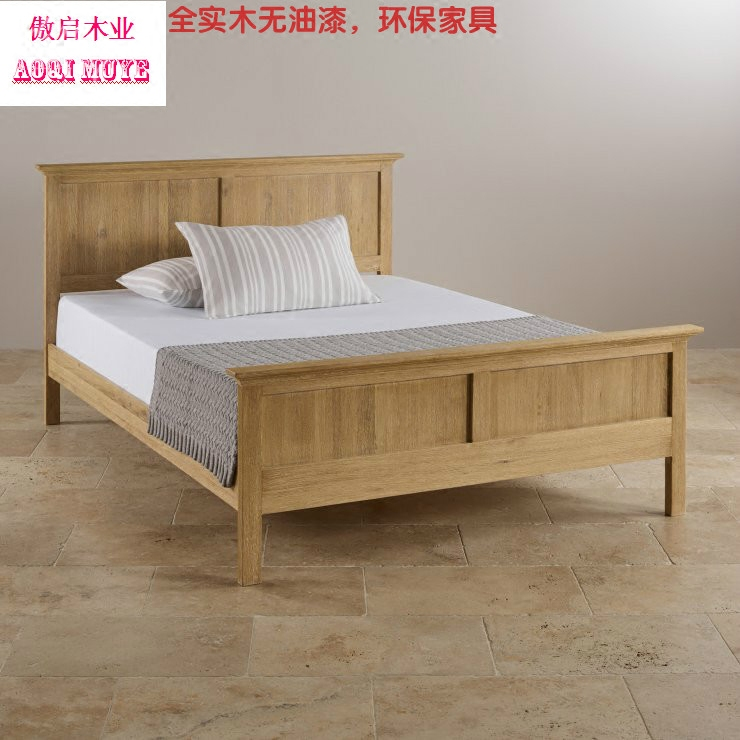 Environmental protection, no paint wood wax oil furniture, American white oak whole solid wood double bed, Nordic log color bed, single bed