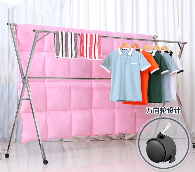 Engrosamiento de la doble barra móvil plegable, ropa de polo y Plaza de tubos de acero inoxidable de percha libre instalación de contracción del mercado