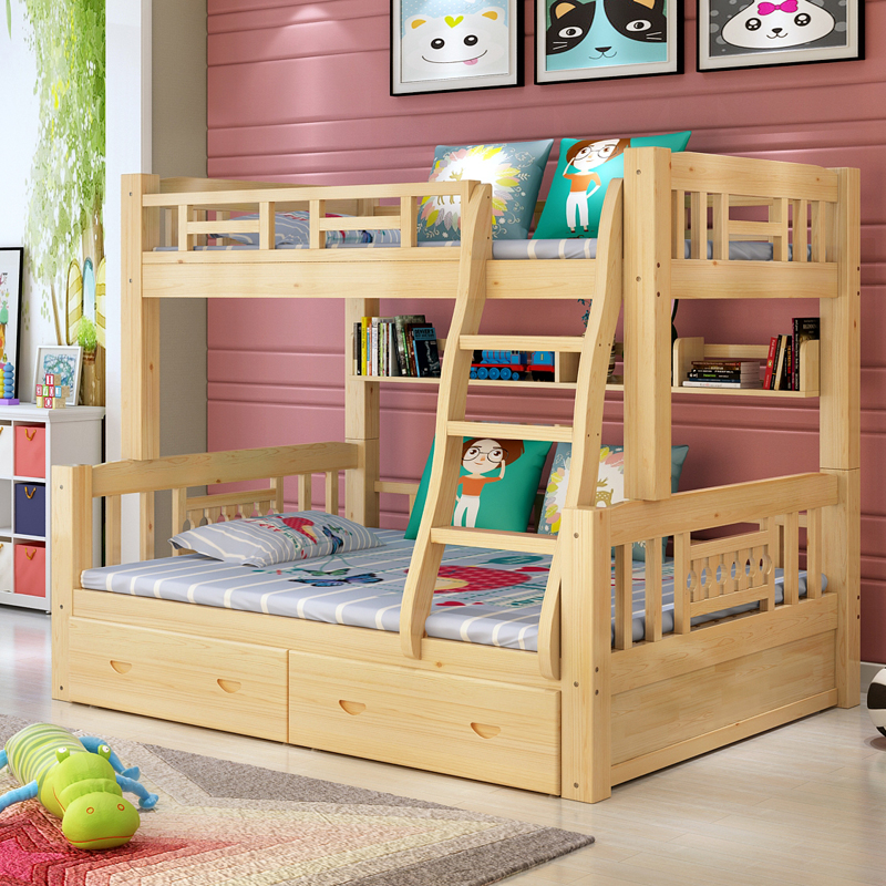 All wood crib bed double bed guardrail height bed bed can be divided into the parent window of pine body on the lower berth