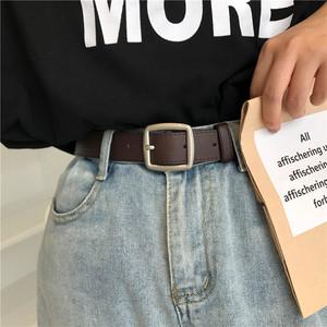 韩国chic流行学生简约百搭皮带女软黑色牛仔裤带bf风复古腰带好看