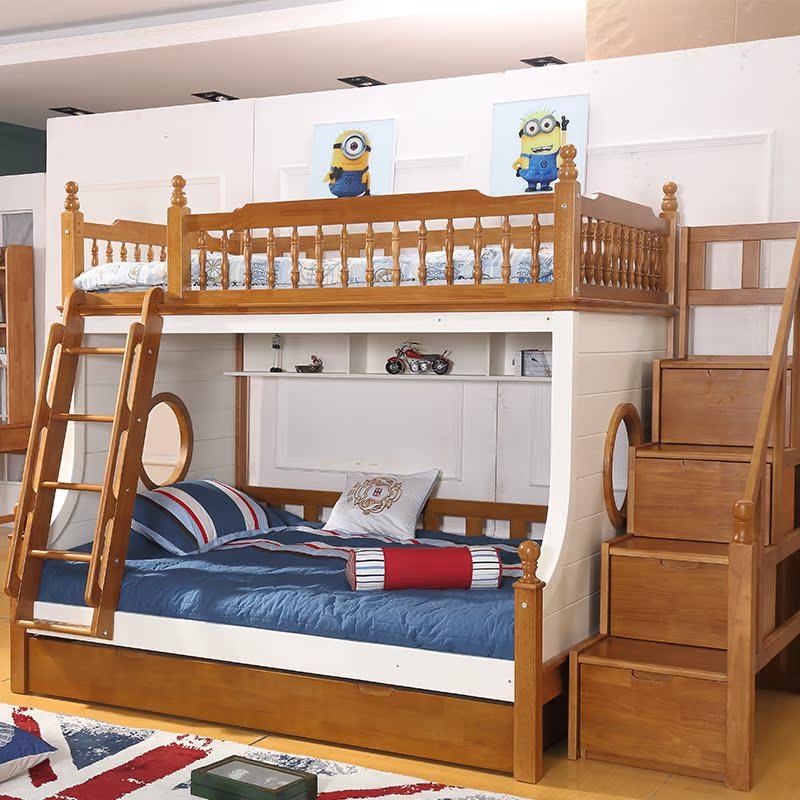 全木造児童のベッドにベッド2層のグループを売る露店母ベッドオークの高低ベッド男女.童家具