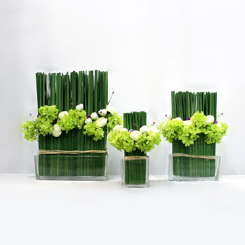 高款:高45寬35厚20cm仿真花套裝中式現代樣板房酒店擺件餐桌創意清新假花客廳擺設花藝