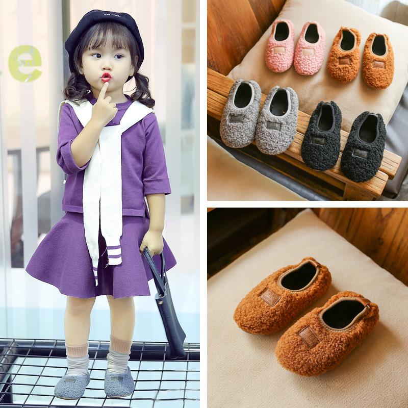 2017冬季女童棉鞋韩版公主鞋中小童软底防滑休闲毛毛鞋加绒蛋卷鞋