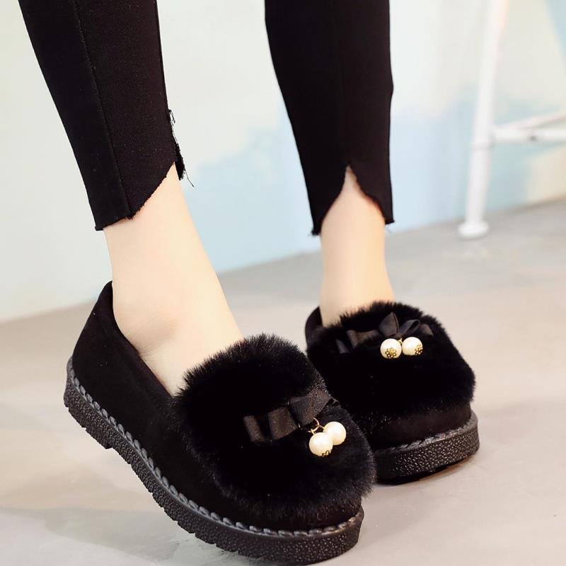 2017冬季新款老北京布鞋女鞋棉鞋加绒平底防滑孕妇鞋毛毛鞋豆豆鞋