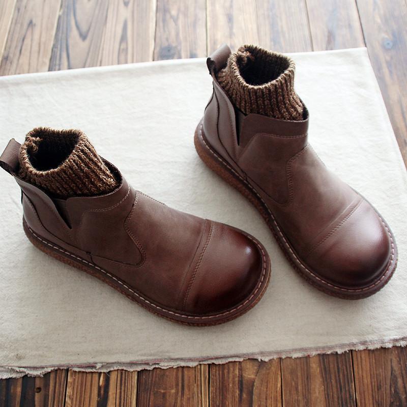 冬森系大头娃娃鞋平底厚底文艺复古短筒靴子毛线口及踝靴女鞋