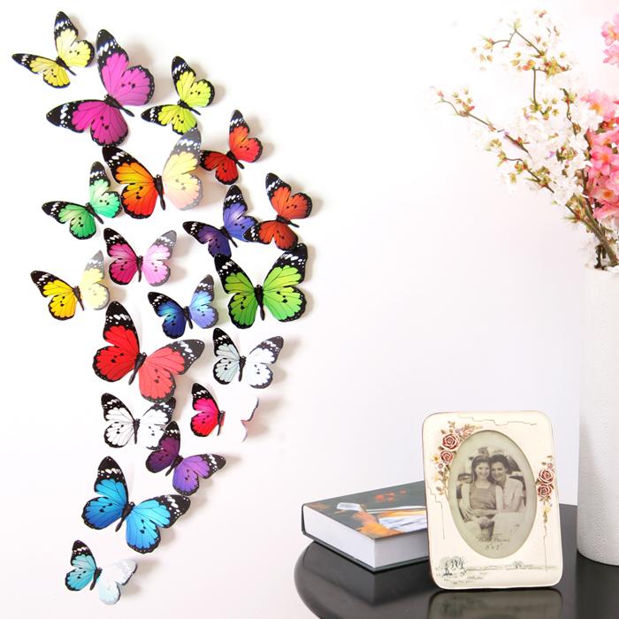 a款24只【買2送1贈送隨機】小多彩3d仿真立體蝴蝶墻貼客廳臥室墻壁貼紙背景墻裝飾溫馨動物貼畫