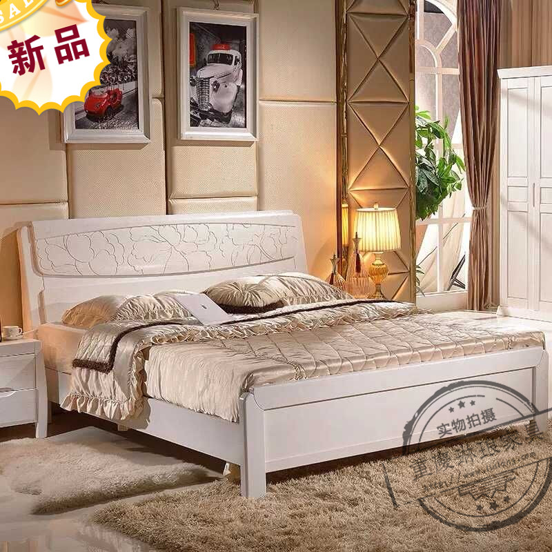 Chongqing furniture, all oak solid wood bed, white solid wood carved oak, modern simple storage double bed