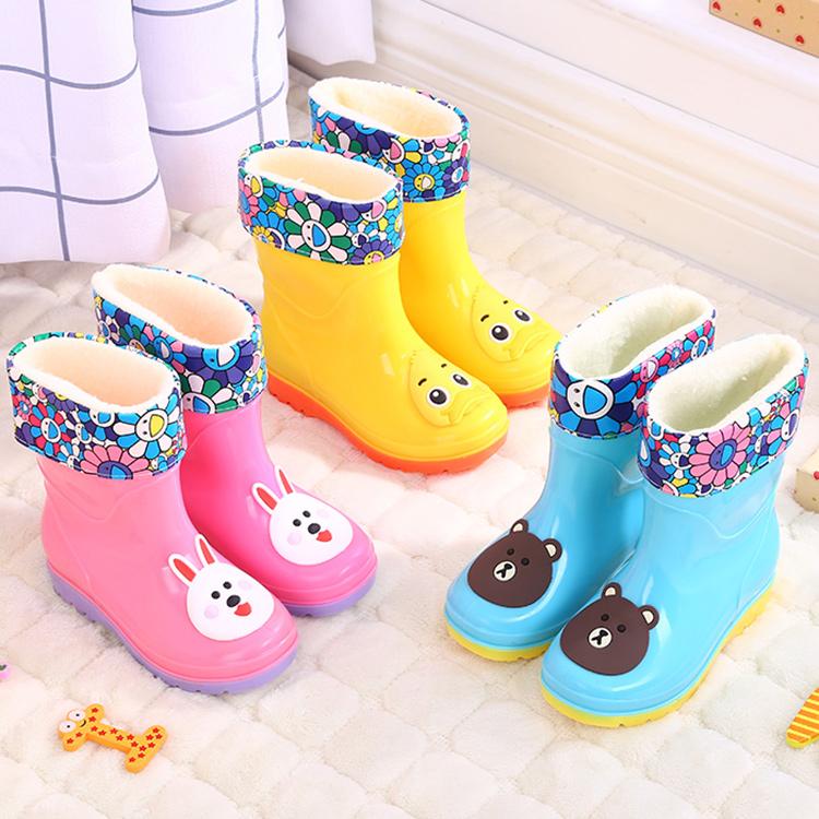 儿童雨鞋男童女童宝宝中筒小童小孩学生防水保暖可爱防滑水鞋套鞋