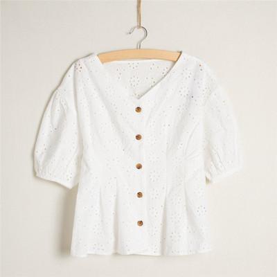 出口日本棉衬衫女刺绣镂空五5分袖花朵半袖女士衬衣白
