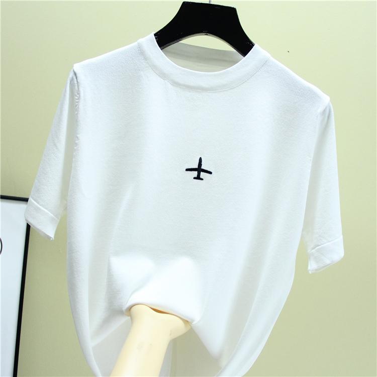 518夏季新港味上衣女刺绣飞机T恤女短袖韩版宽松体恤冰丝针织衫
