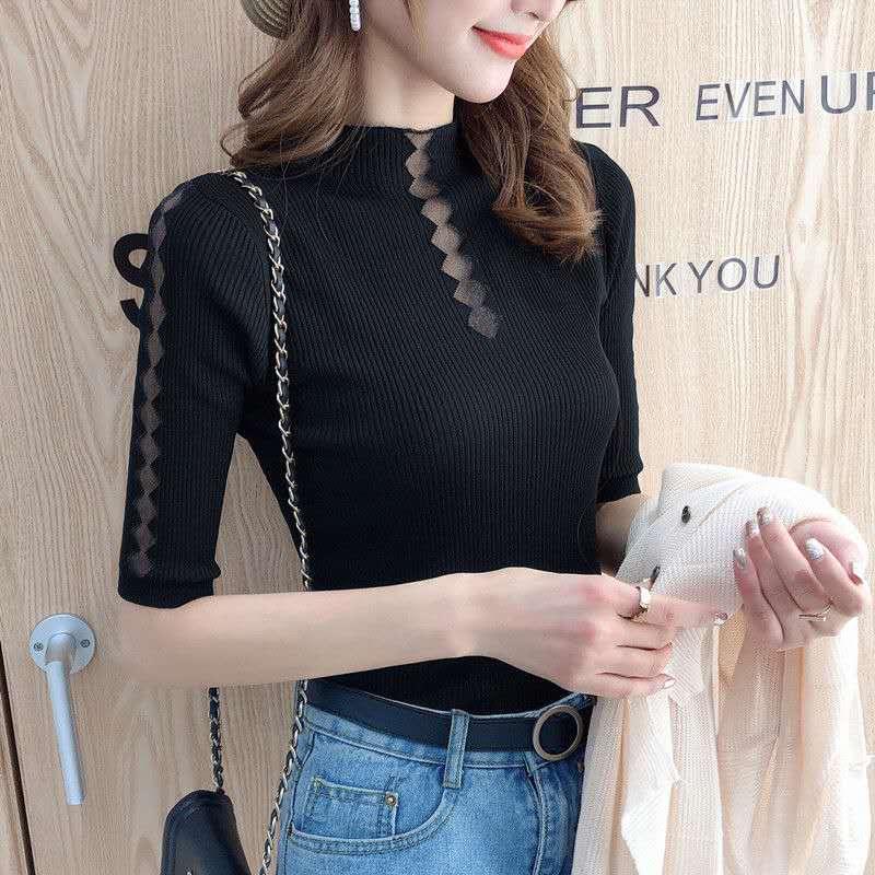 950#春夏新款韩版修身半高领镂空女士中袖冰丝针织衫打底衫上衣