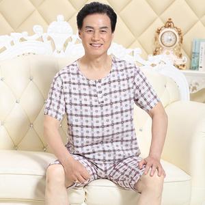 夏季中老年人男士棉绸睡衣爸爸中年老人短袖家居服人造棉薄款套装