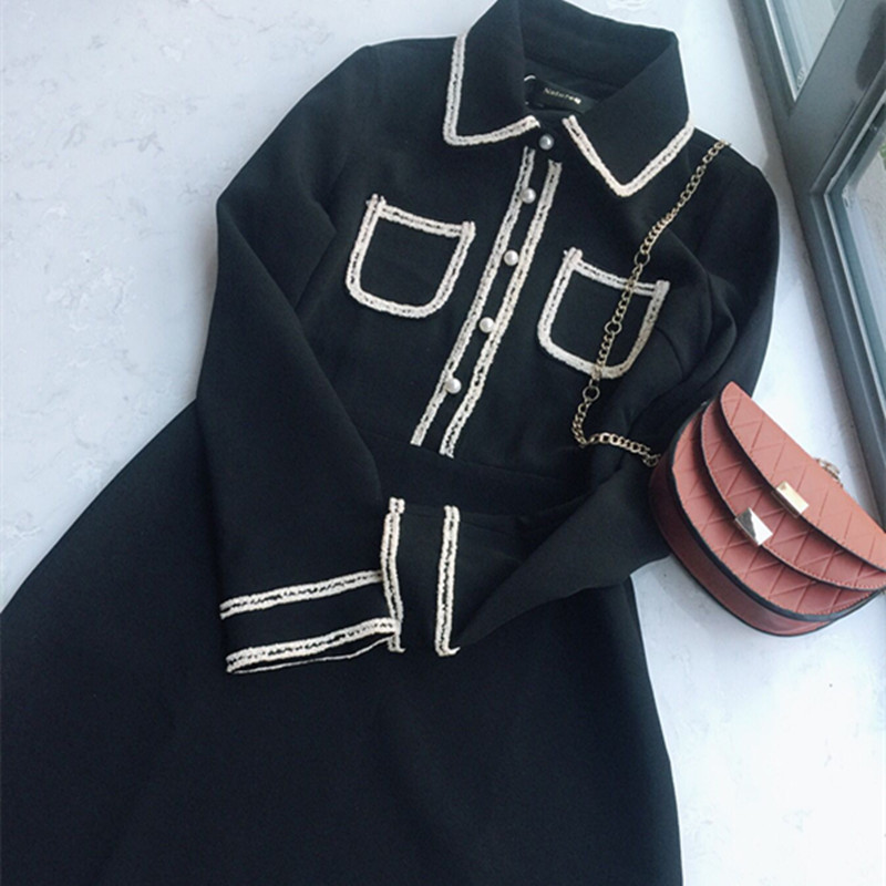 NatureQ2017秋鼕新款優雅氣質小香風黑白撞色娃娃領修身連衣裙
