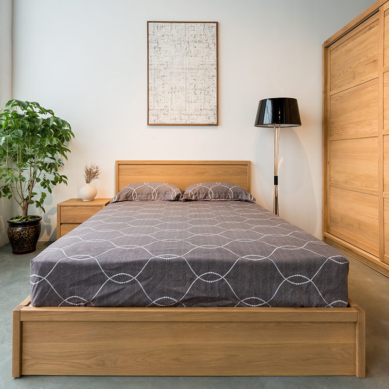 All solid wood, white oak, Nordic modern simple double bed, environmental protection furniture, storage drawer, bed box, environmental health