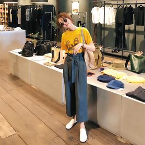 复古港味学生森女系心机韩版小清新网红俏皮阔腿裤两件套装女夏季