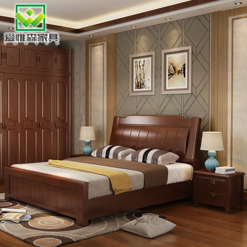 New all solid wood bed 1.8 meters, Chinese style simple modern double bed 1.5 rubber wood air pressure high box storage furniture