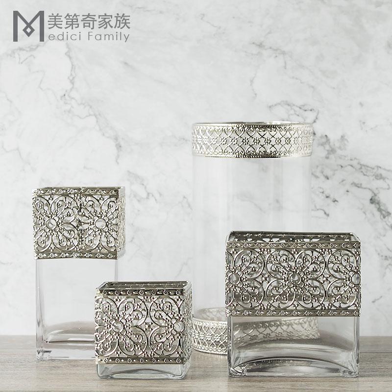 高款銀色金屬雕花瓶 手工口吹玻璃花器北歐風格家居裝飾樣板間擺件