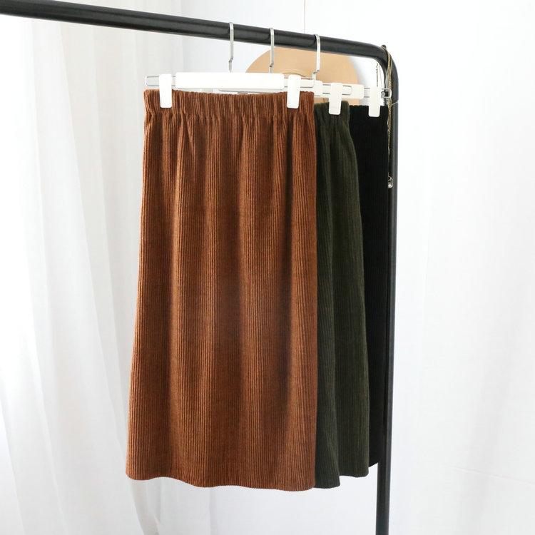 2017秋冬季新款韩版厚款仿针织厚料铅笔半身裙中长款高腰长裙包臀
