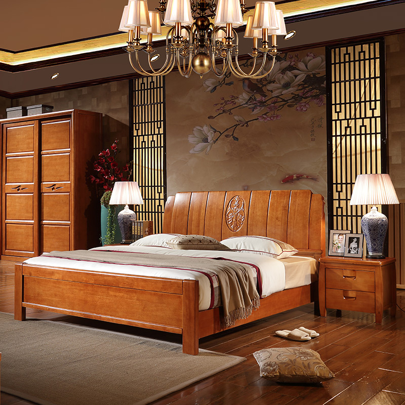 Simple Chinese modern solid wood bed 1.8 meters high storage box bed 1.5M white oak rubber double bed