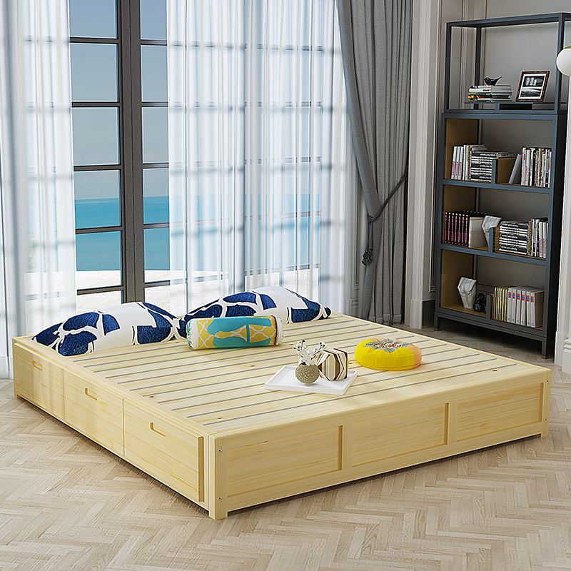 The bed bed platform customized modern minimalist Japanese style tatami wood frame 1.81.5 double bed frame