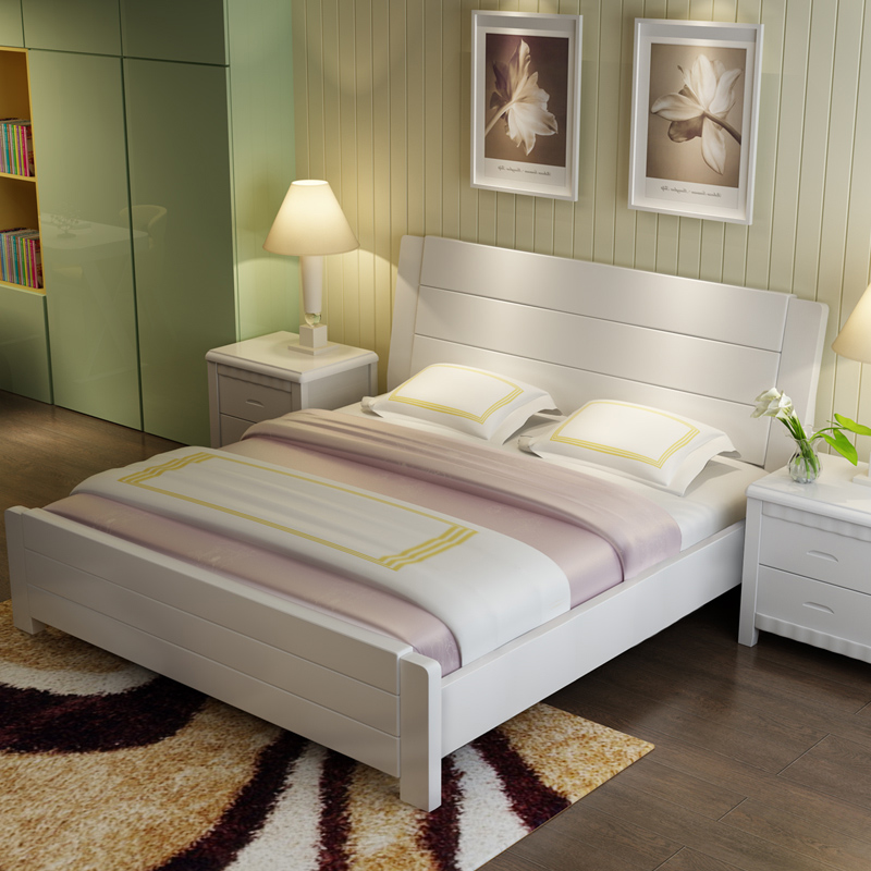 New Chinese style all solid oak bed, 1.2 single, 1.5 double, 1.8 meters, modern simple marriage bed, high box storage bed
