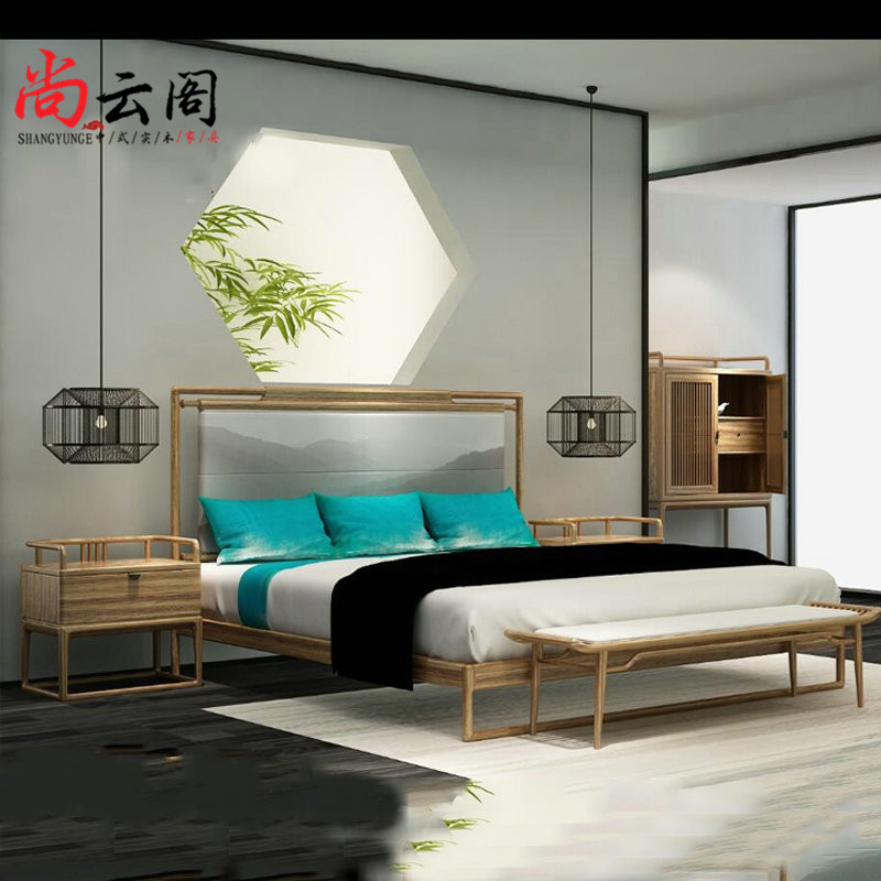 Modern Chinese New ashtree wood double bed full of antique Ming and Qing wood furniture paint free simple custom