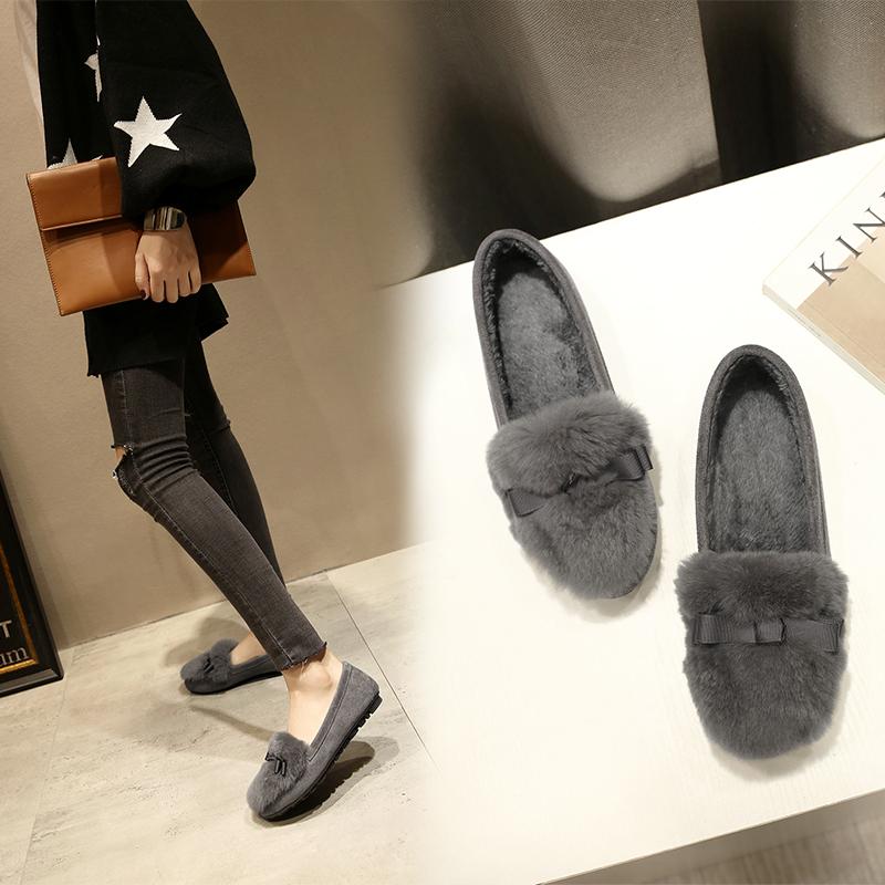 豆豆鞋女加绒冬季平底真皮兔毛单鞋软底韩版毛毛鞋大码女鞋41-43