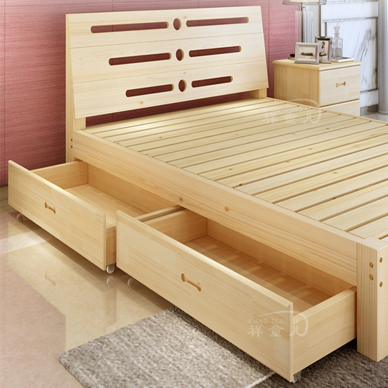 Solid wood bed, high pressure box, air storage bed, 1.5 meters, 1.35 meters, double bed, 1.2 meters, pneumatic bed, children's single