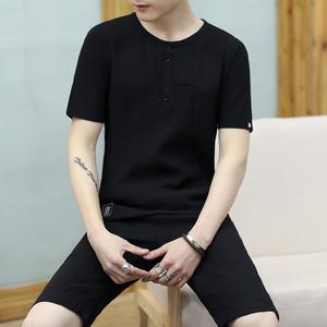 男士夏天2018新款短袖t恤青年短裤五分裤夏季套装潮流两件套衣服