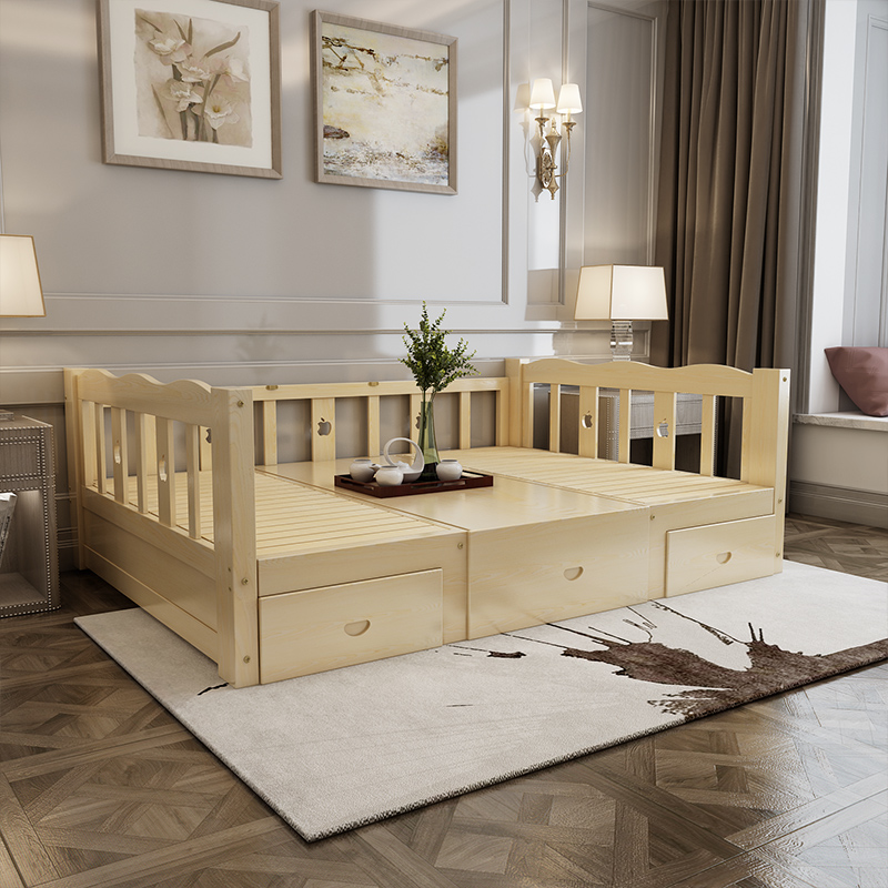 Solid wood bed, children's bed, desk, modern single bed, 1.21.5 meters double bed multifunctional sofa bed