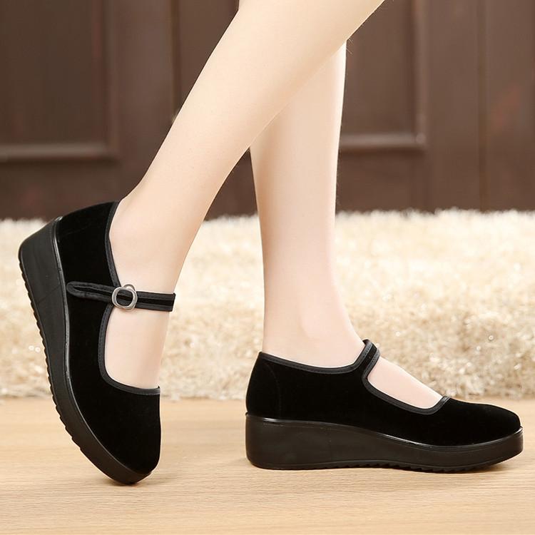 厚底老北京布鞋女工作鞋女鞋黑色平跟坡跟舞蹈鞋高跟鞋單鞋酒店鞋