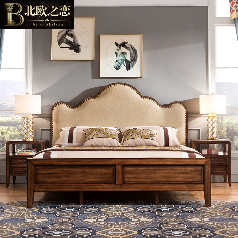 American pure wooden 1.8 meters 1.5 double soft by the simple beauty of rural marriage bed bedroom furniture