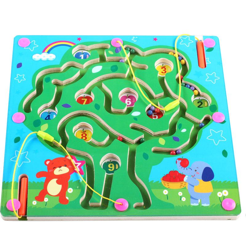 児童磁力迷宮磁性の筆の走珠磁石パズルのおもちゃ2-3-4-5赤ちゃん男女の子知能歳