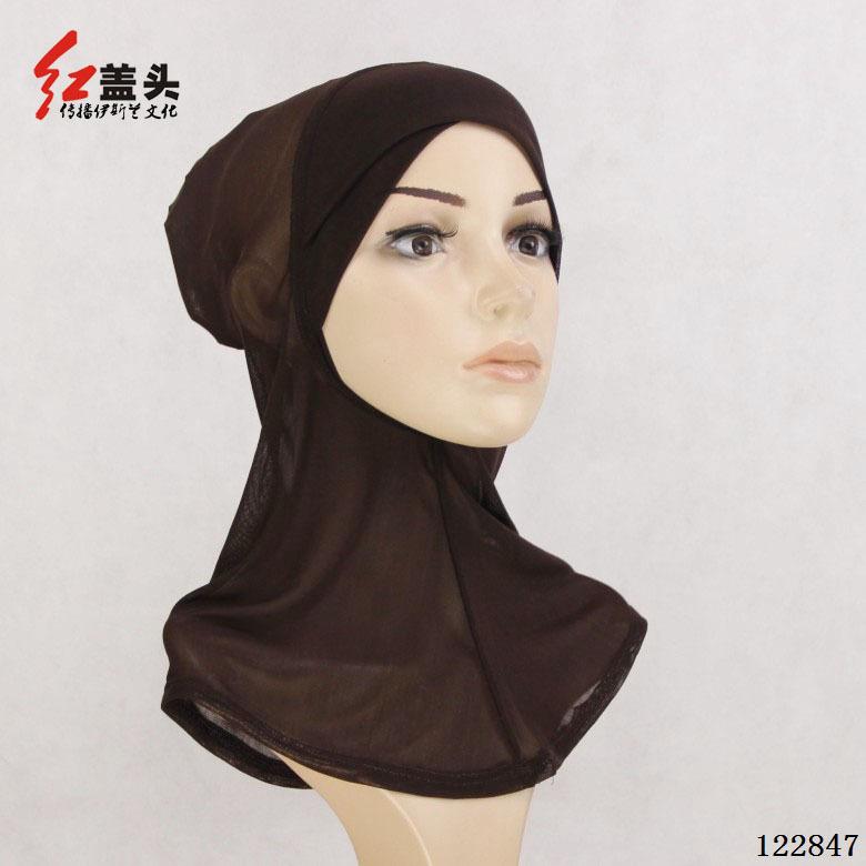 122849可調節穆斯林沙巾女套頭新款網紗頭巾絲巾回族禮拜帽子女透氣百搭打底帽
