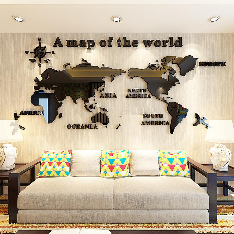 世界地圖 全黑色小世界地圖3d亞克力立體墻貼辦公室公司企業文化背景墻裝飾勵志標語