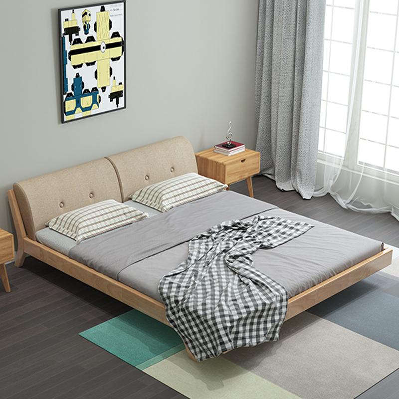 Nordic solid wood bed 1.8 meters double bed, modern minimalist 1.5 meters master bedroom, bed bed 1.2 meters pure Japanese furniture