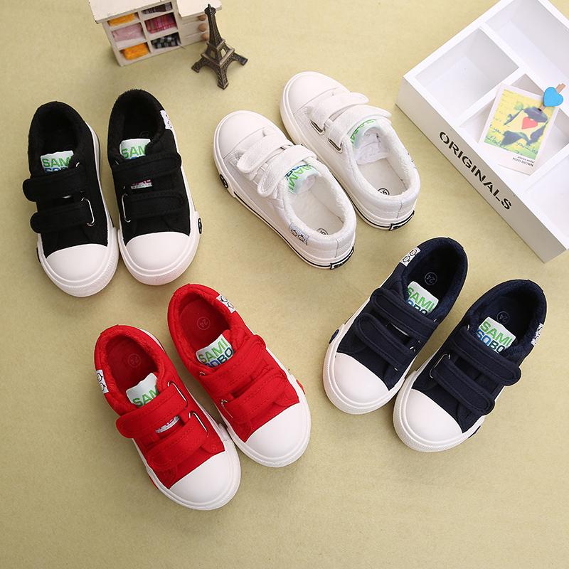儿童帆布鞋秋冬季低帮童鞋加绒保暖女童冬鞋宝宝小白鞋男童休闲鞋