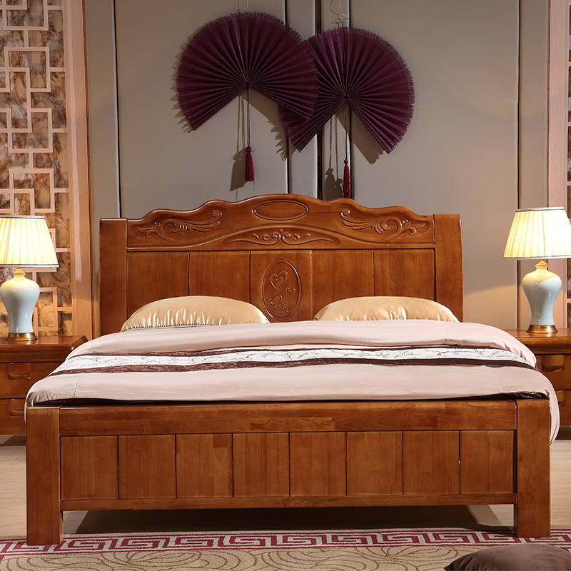 Solid wood bed, modern Chinese high box bed, storage bed, wedding bed, 1.8 meters double bed, bedroom furniture, mattress, bedside table
